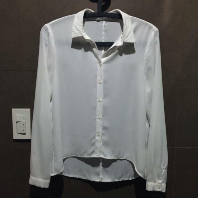 Lefties White Longsleeved Polo Shirt