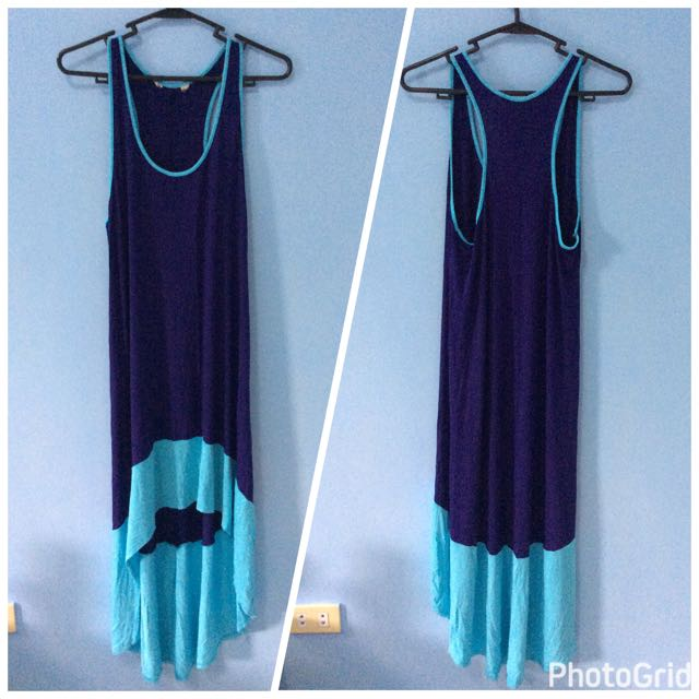 Mullet racer back summer dress navy blue and turquoise