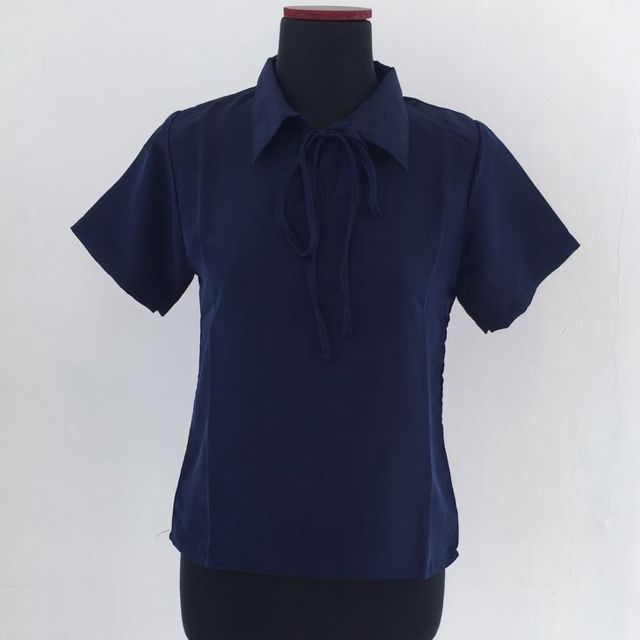 Navy Ribbon Top