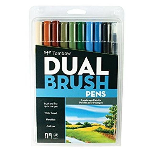 New Tombow Dual Brush Pen Art Markers Lanscape 10 Pack