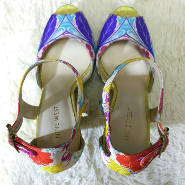 歐美時尚韓系NINE WEST品牌精品花繪繽紛叢林豹紋羅馬鞋楔型鞋厚底鞋涼鞋#運費我來出