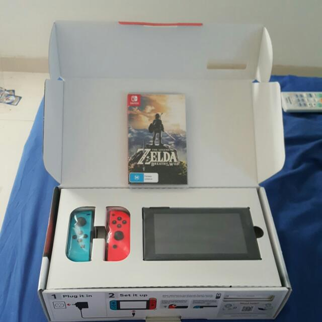 Nintendo Switch - NEON + Zelda:Breath Of The Wild *BRAND NEW*