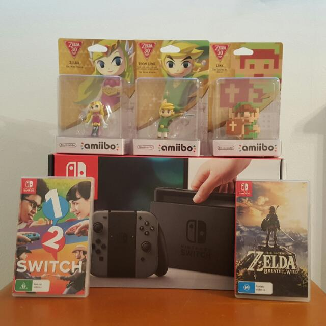 Nintendo Switch BUNDLE! (Grey Colour) 2 Games + 3 Amiibo *BRAND NEW*