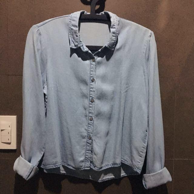 Pimkie Faded Denim Longsleeved Chambray Shirt