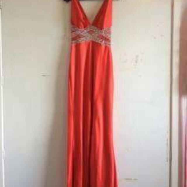 Red Backless Ball Dress