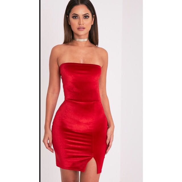 Red Velvet Strapless Dress