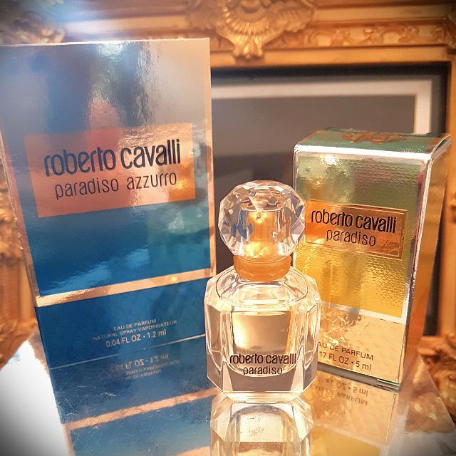 ROBERTO CAVALLI PARADISO EDP 5ML W TIGERNAIL STICKERS & PARADISO AZZURO, MICHAEL KORS SEXY AMBER sample Fragrances(Price reduced)