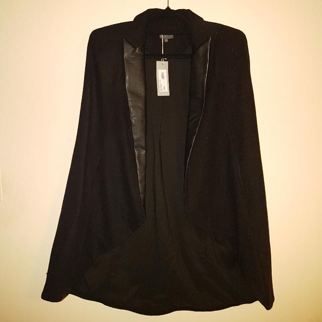 Sheike Leather Lapel Cape
