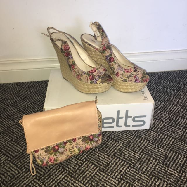Size 8 Betts Wedges w/matching Clutch
