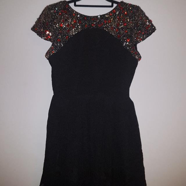 Topshop Petite Open Back Embellished Skater Dress