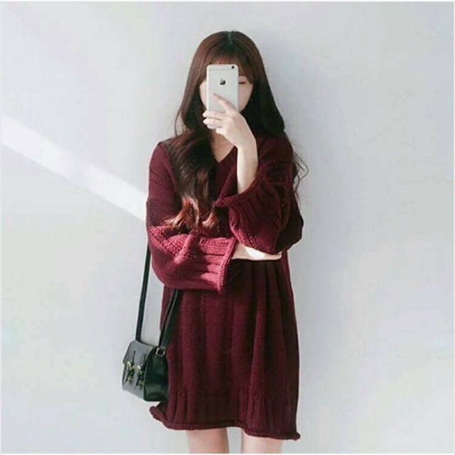 麻花捲邊V領厚毛衣洋裝