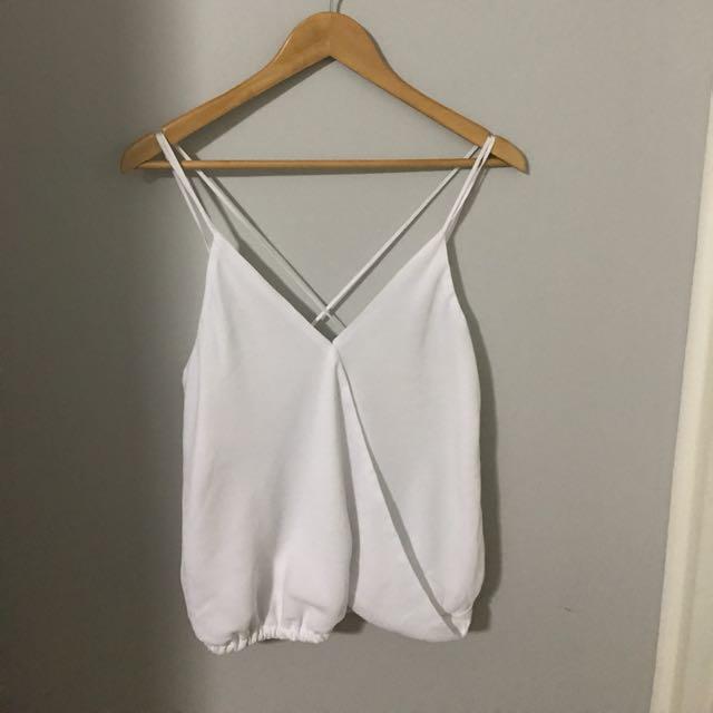 White Cross Over Strap Shirt
