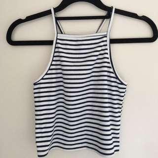 Blue & White Stripe CROP Top