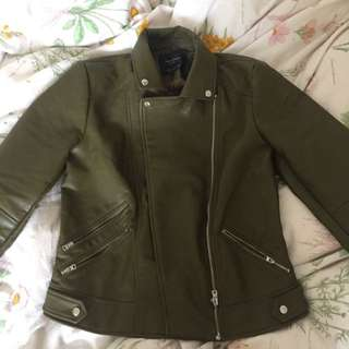 Zara Green Leather Jacket