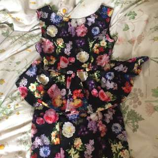 Topshop Flower Peplum Dress