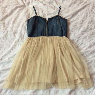 Denim Zip Up And Tulle Dress