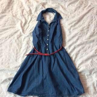 Denim Halter Neck Fit&Flare Dress