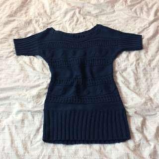 Navy Cable Knit Sweater Dress
