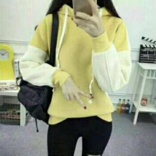 出清黃色拼接帽t 閨蜜裝 姐妹裝