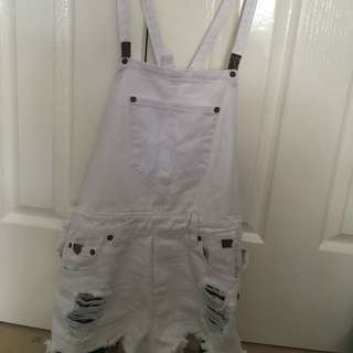 White Ripped Overalls
