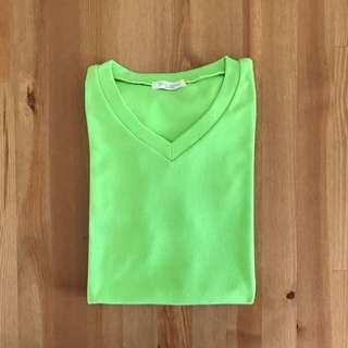 🚚 韓版 螢光綠素色T-shirt