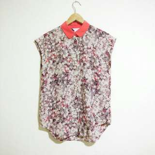 Club Monaco Silk Floral Sleeveless Button Shirt Size Xs