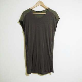 All Saints Silk And Jersey Olive Green Tunic Dress Size 6
