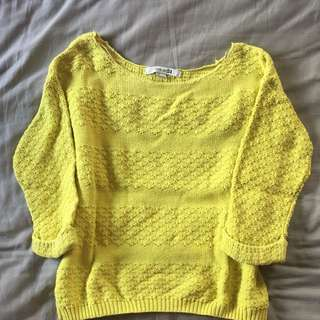 FOREVER 21 Lime Green Crop Knit Sweater