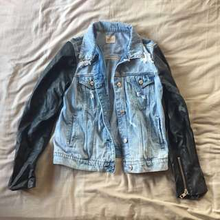 MANGO JEANS Ripped Denim Jacket With Faux Leather Sleeves