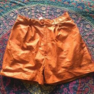 Vintage Orange Leather Shorts