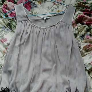 Grey Flowing Valleygirl Top