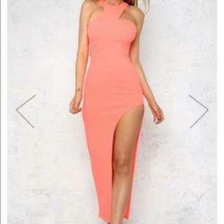 Hello Molly Long Peach Dress