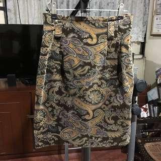 Printed Suede Skirt