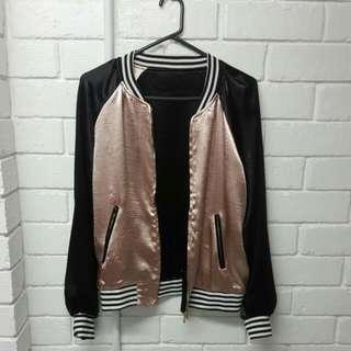 Metallic Silk Bomber Jacket