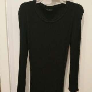 Black Ribbed Midi Dress One Size (Fits Size 8)