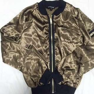Khaki Satin Bomber Jacket Prettylittlething