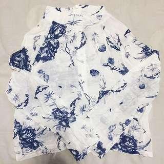 White Floral Crop Top