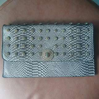 Sling Or Clutch Bag Motif Kulit Ular