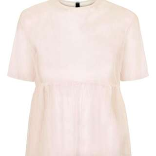 Pink Mesh Peplum T-Shirt