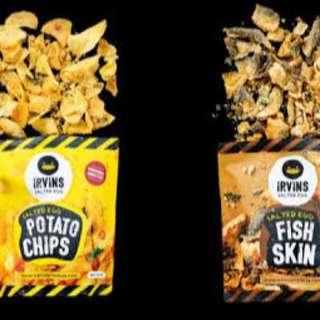 Singapore SALTED EGG Potato chips IRVINS