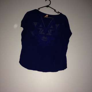 size XS navy blue ally top