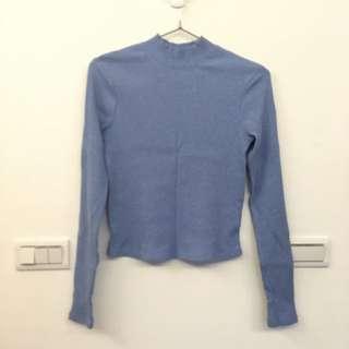 水藍高領合身針織上衣#轉轉來交換