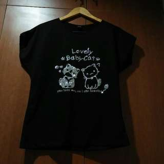Imported Sequinned Cats Black Blouse