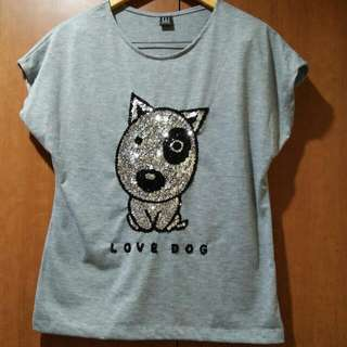 Imported Sequinned Gray Dog Blouse