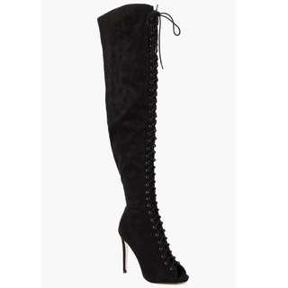 Boohoo Lace Up Thigh High Boots