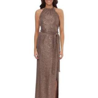 Jane Norman Gold Halter Maxi Size 8 RRP $79