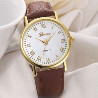 Geneva Quartz Analog Leather Band Wrist Watch for Men and Women