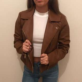 NEW! Brown Faux Leather Jacket