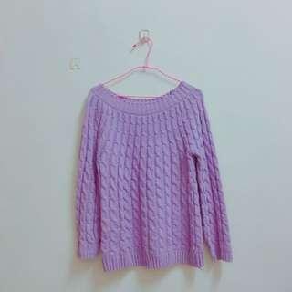 粉紫色針織毛衣