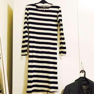 全新正韓  黑白條紋 長裙